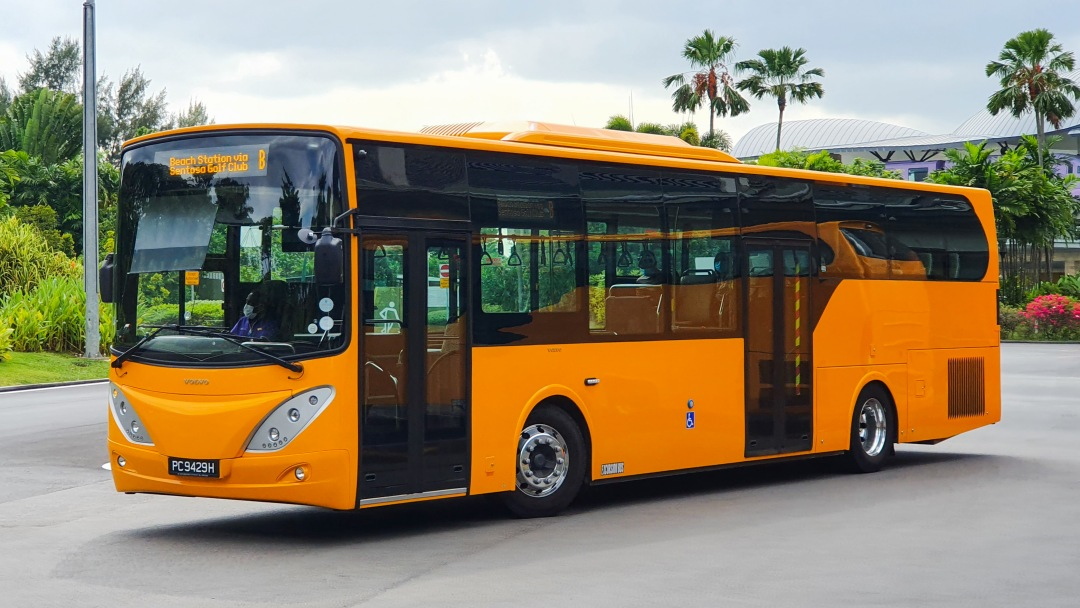 Orange bus with number plate PC9429H, a Sentosa Volvo B8RLE SC Auto